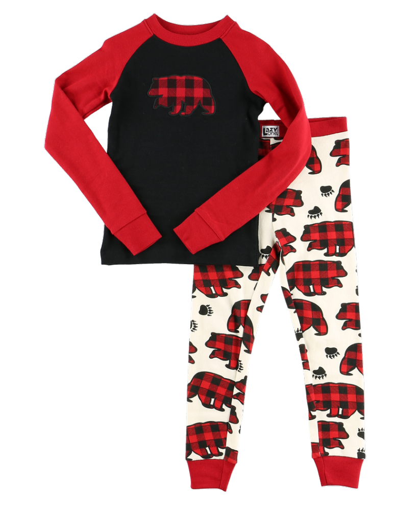Allover Bear Check - Kids Long Sleeve PJ Set - LazyOne®